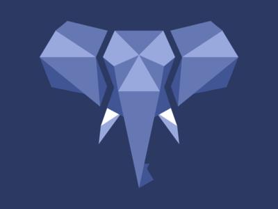 Elephant triangles low poly elephant