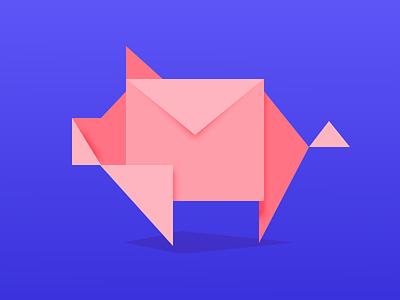 Piggy origami pig envelope