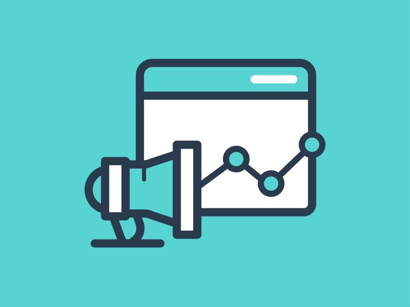 Product Marketing stats bullhorn icon marketing product