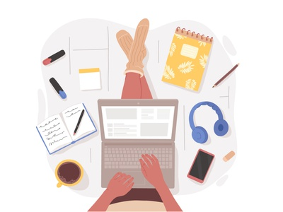 Working Space cartoon process freelance drawing flatdesign illustration design flat laptop floor girl woman remote home working from home working space working