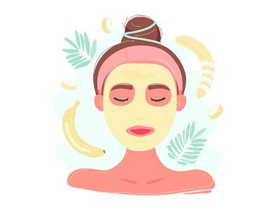 Facial mask nutrient dermatology diy homemade beauty portrait face vector handdrawn cartoon flat illustration design banana spa girl woman mask facial