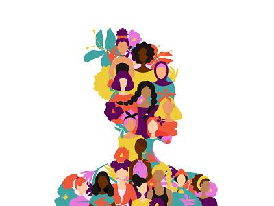 Women power diversity flower character figure african womensday girl female vector flat illustration design struggle rights feminism silhouette empowerment woman women
