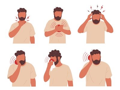 Pain set nose heart tooth ear throat rhinitis migraine chest stomachache sick headache vector flat design collection set ache pain guy man