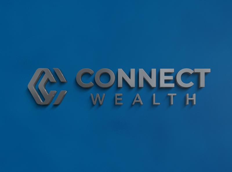 3D Logo Mockup Connect Wealth Signage 3d letter connect 3d letter connect signage design illustration brand strategy branding minimal design identity