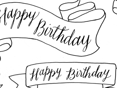 Happy Birthday banners calligraphy scan script banner illustration