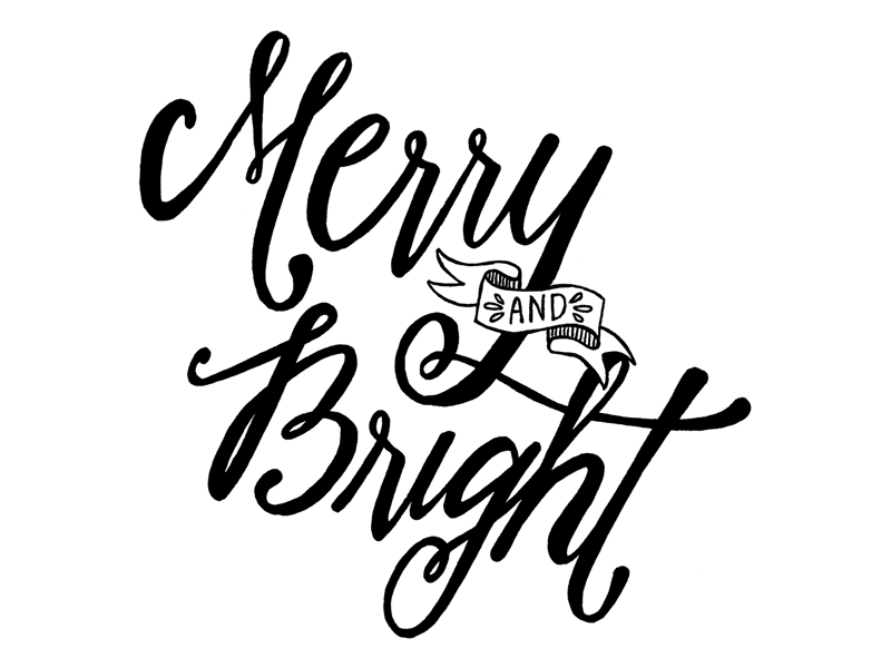 Merry and Bright marker sketch scan lettering christmas