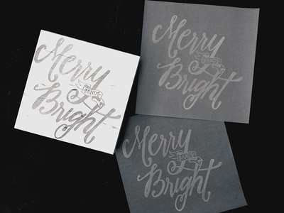Merry and Bright (stamp, BW) lettering stamp christmas rubber stamp black and white
