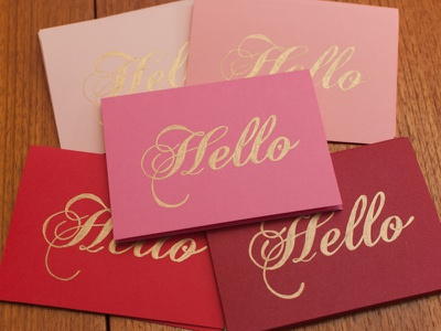 Hello stationery hello cards gold metallic ink