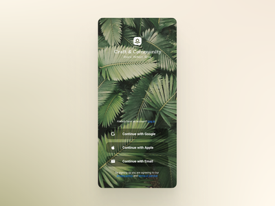 Craft & Community - Welcome Screen plants welcome screen mobile design mobile app mobile ui app ui design ui design product design