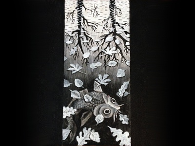 Almost done... trees tree leaf leaves white black fish escher painting paint acrylic