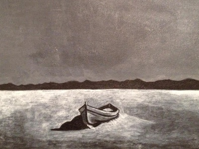 Lifeboat paint white black sky mountains desert lifeboat boat