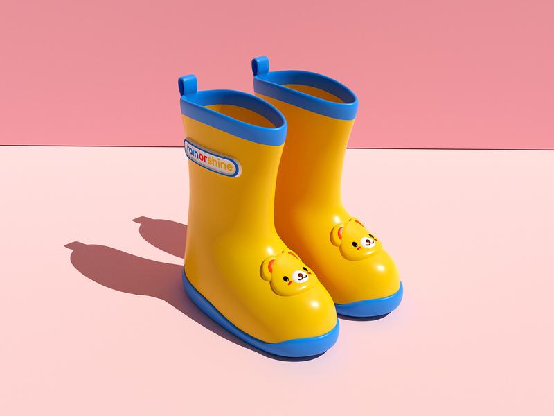 Rain or Shine 3D Model toddler spring rain boots 3d modeling 3d