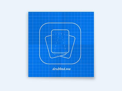Drubbed Icon Blueprint handdrawn sketch wip blueprint app icon