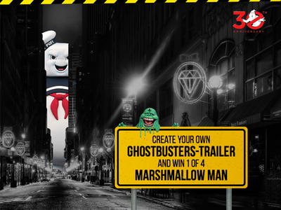 Ghostbusters 30th Anniversary header website anniversary sony contest slimer marshmallow man ghostbusters