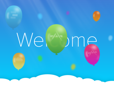 Some Balloons landingpage welcome sunrays clouds heaven sketch balloons