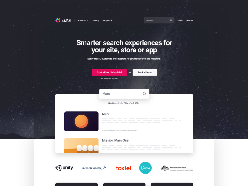 New Website 2019 personalization ecommerce api matching saas search space web design website