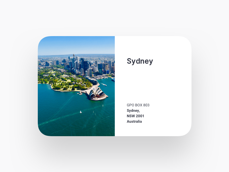 Location Card component card address sydney location contact us website web design search saas