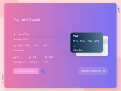 Credit Card Checkout Page visa payment credit card checkout credit card adobe xd ui design