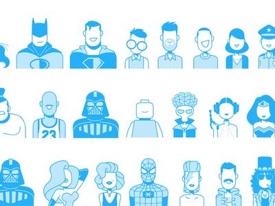 Famous Avatars for Paybox branding app character