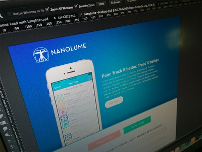 Nanolume App Website app health apple wip blue healthcare pain tracking treatment