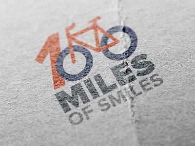100 Miles Of Smiles Logo orange blue branding travel logo bike