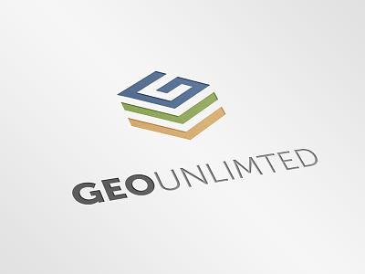 Geo Unlimited Logo world gis yellow green blue layers globe logo