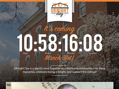 Wartburg College UKnight Day  uknight orange countdown donation university iowa giving fundraising college wartburg