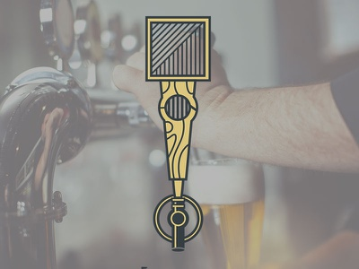 Brewing Up Ideas icon line illustration craft handle tap brewery beer