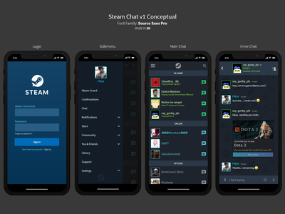 Steam Chat - Conceptual chat app steam ui steam chat steam