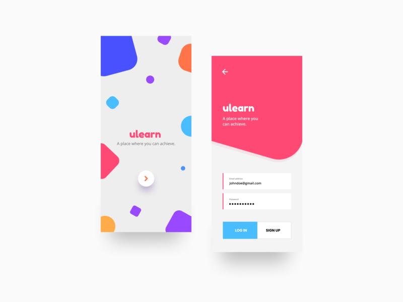ulearn | Educational Platform | Concept intro page login page iphone app minimal design graphic ux ui vector android app design ios app design app design app