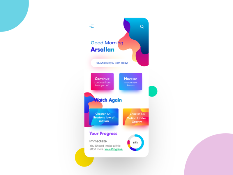 E-learning app design behance user interface user experience application flat web branding vector illustration graphic gradient iphone x minimal vector design illustration app ux ui