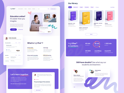HighFive education school app webdesign flat design vector ux ui