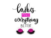 Long Black Lashes. Fashion lettering