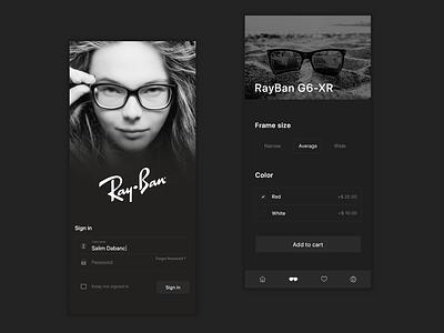 RayBan Mobile App Design interaction mobile app design ui design interactiondesign designinspiration inspiration uidesign uitrends mobile ux ui mobile app rayban