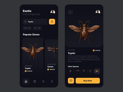 Entomology Store Mobile App Inspiration ui design uxdesign inspiration uitrends uidesign dark ui flies bug grave engraving entomology