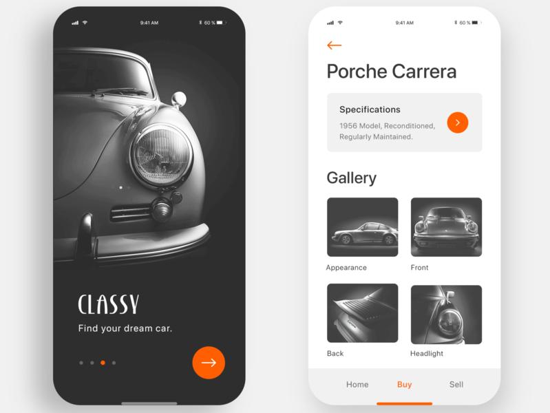 Classy - Classic Car Mobile App Inspiration Design