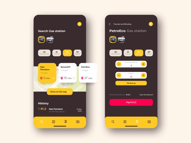 Refueling App Concept gas station car refueling ui  ux uxdesign uidesign uiux ux ux design design ios user interface ui design ui app design app