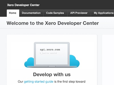 Xero Developer Center xero laptop clouds web design navigation wordpress