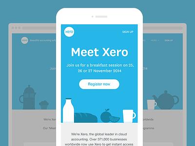Meet Xero event landing page responsive web design coffee milk breakfast monotone teapot