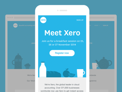 Meet Xero event landing page responsive web design coffee milk breakfast monotone teapot