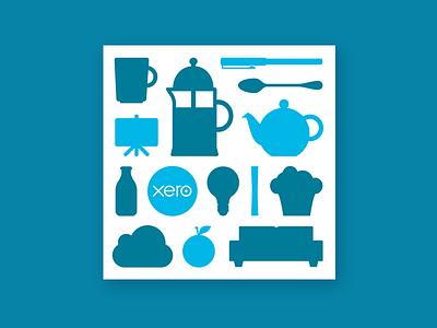 Meet Xero invitation illustration breakfast coffee