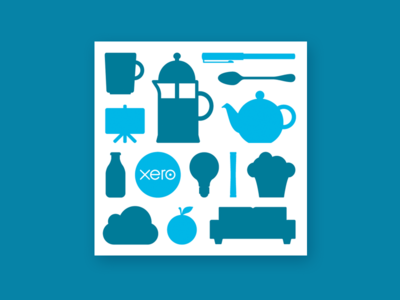 Meet Xero invitation illustration breakfast coffee