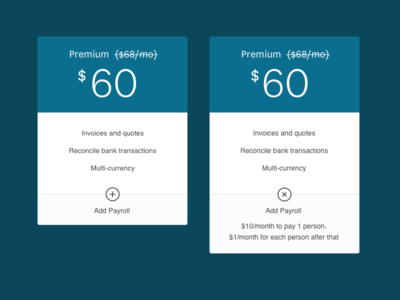 Pricing cards payroll pricing