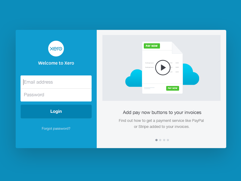 Xero login page by Camille Brunette for Xero on Dribbble