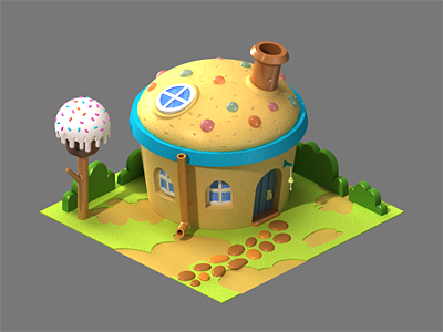 Cupcake Rebound icons 3d 3ds max cg building blue house yellow cake cupcake sweet