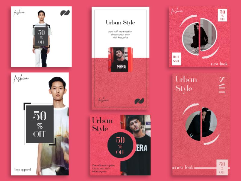 Instagram Template story boys girl cloth square advertisement ad fashion feed template instagram