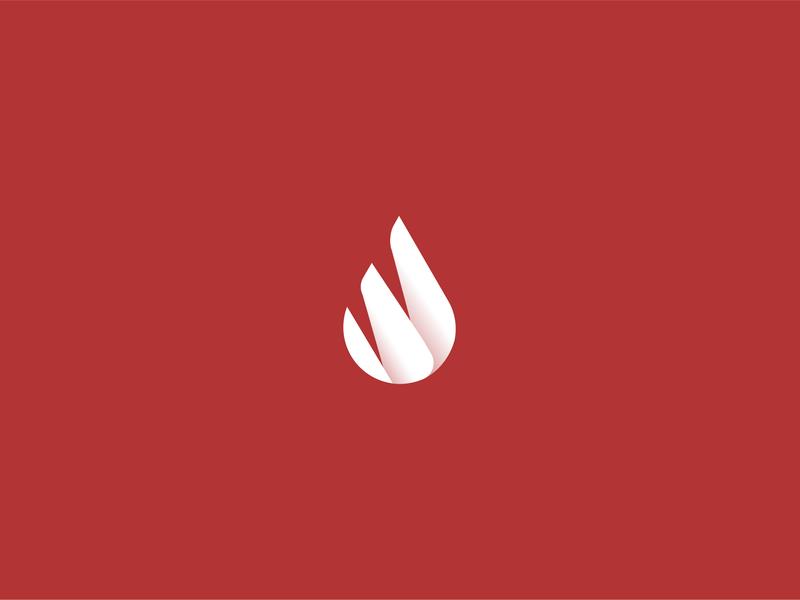 Logo Design Fire + Water Drop web website app icon minimal flat branding illistration 2d vector logo design