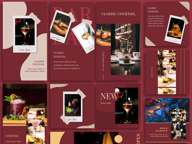 RED WINE : INSTAGRAM POST FEED TEMPLATE red template design banner ads facebook ad ads banner digital advertising advertising design campaign instagram ads social media advertisement