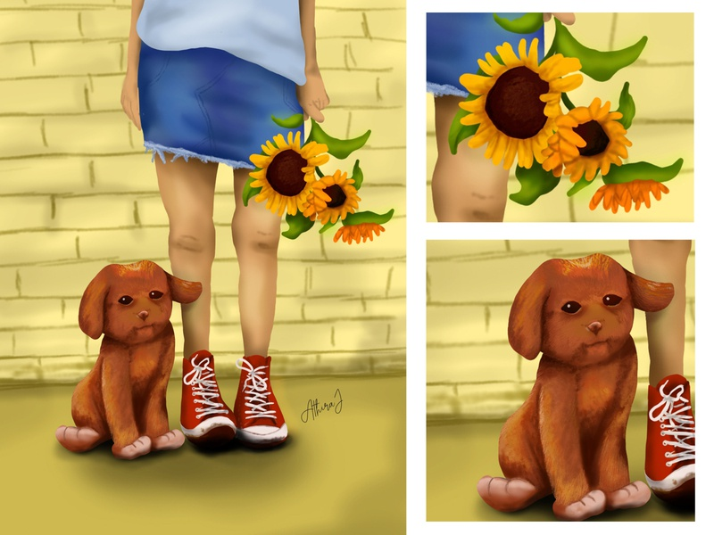 Digital painting - A heartbeat at my feet shoes happy girl pets pet puppies sunflower cute dog puppy illustration