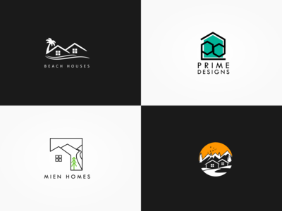 Minimalist Housing Construction Logos